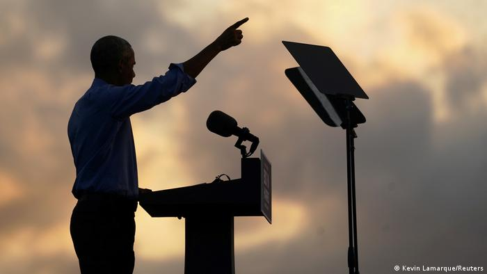 Obama points to the sky