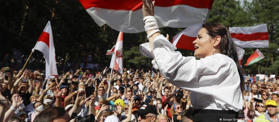 Belarusian presidential candiate Sviatlana Tsikhanouskaya addresses and electoral rally on August 2, 2020