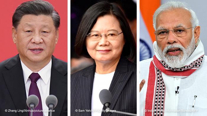Chinese President Xi Jinping, Taiwanese President Tsai Ing-wen and Indian PM Narendra Modi
