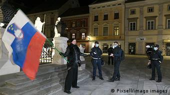 Protest against the curfew in Slovenia Protest against the curfew due to the coronavirus epidemic, in Maribor, Slovenia