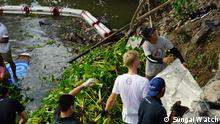 Under a project called Sungai Watch, an Indonesian environmental group in Bali, Make A Change World, started using 'floating walls' to clean local rivers. Credit: Sungai Watch