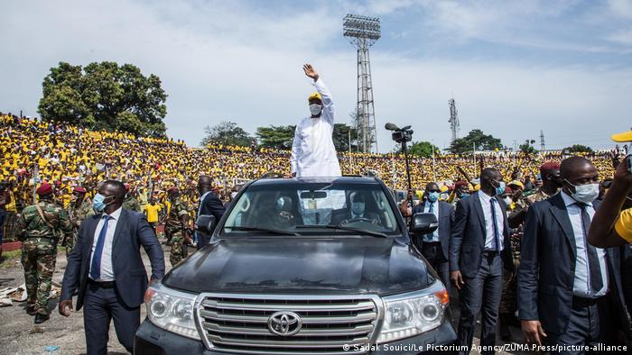 Alpha Conde at a rally ahead of the vote