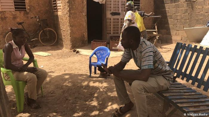 A quantitative interview being conducted in Burkina Faso