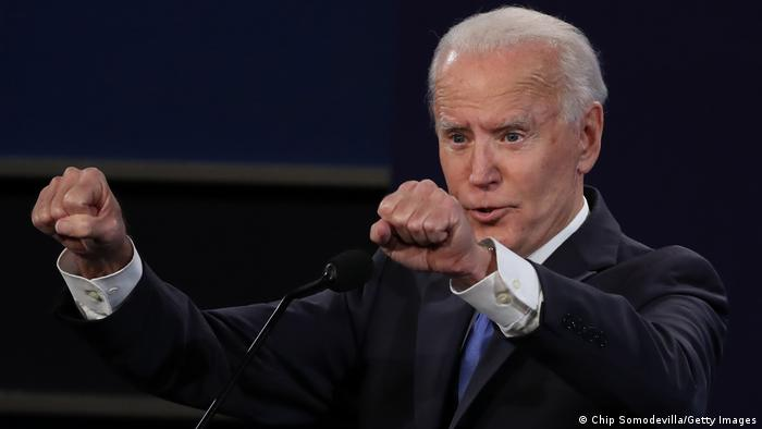 Joe Biden holds up his fists