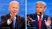 A split-screen image of Joe Biden (left) and Donald Trump