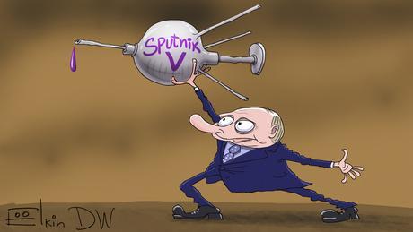 Карикатура Сергея Елкина: Путин держит в руках спутник в виде шприца с надписью Sputnik V