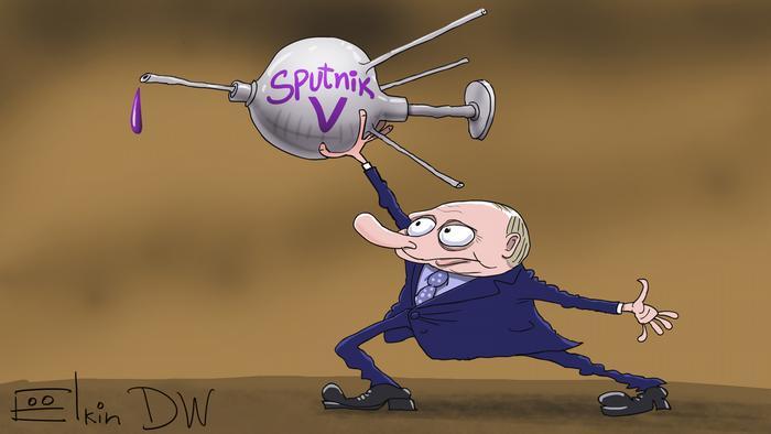 Карикатура Сергея Елкина - Путин держит в руках спутник в виде шприца с надписью Sputnik V