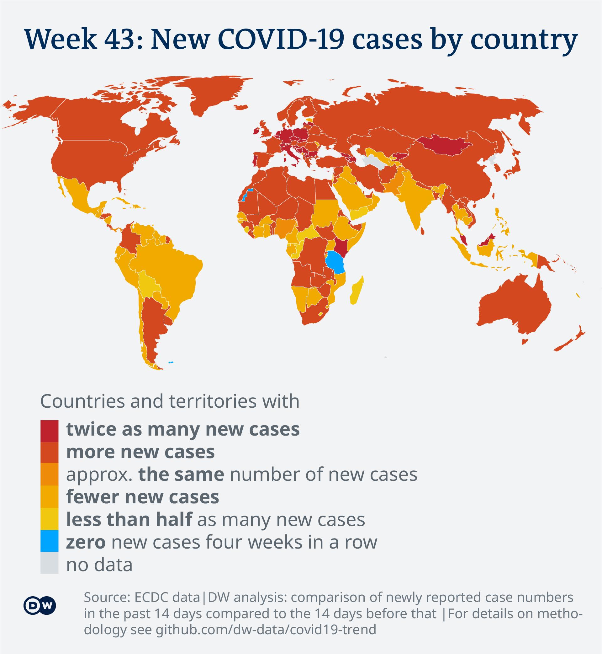 Data visualization: COVID-19 global new case numbers trend - map calendar week 43