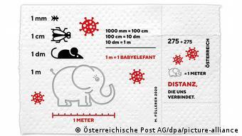 Слоненок на австрийской марке на тему коронавируса