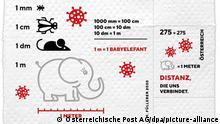 Corona-Briefmarke aus Klopapier der österreichischen Post (Österreichische Post AG/dpa/picture-alliance)