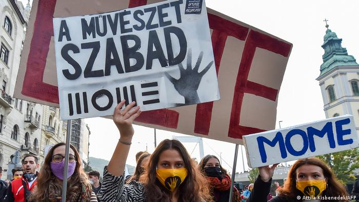 Hungarian protesters with placards and banners