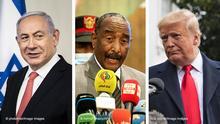 صورة مركبة تضم الرئيس ترامب ورئيس مجلس السيادة في السودان عبد الفتاح البرهان ورئيس الحكومة الإسرائيلية نتنياهو.