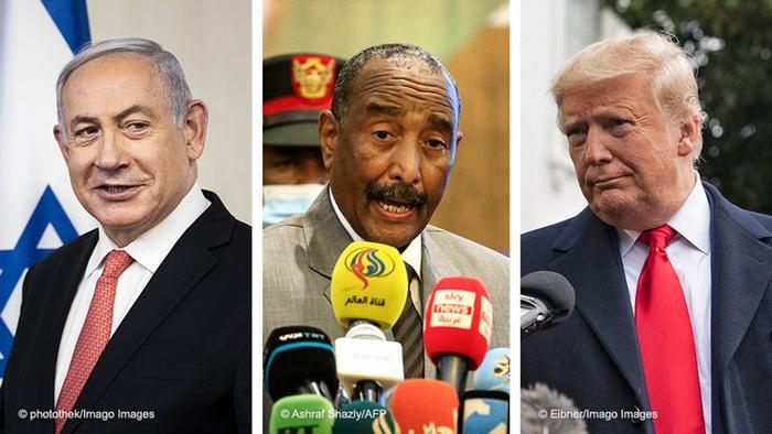 Bildkombo Benjamin Netanyahu, Abdel Fattah al-Burhan, Donald Trump