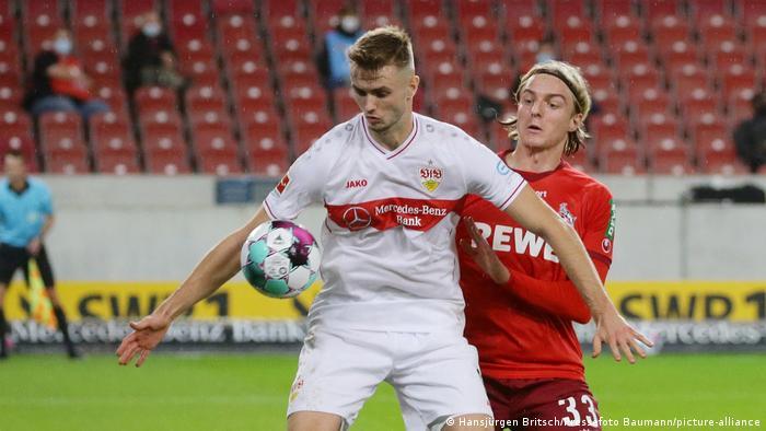 Fußball | Bundesliga | VfB Stuttgart vs. FC Köln | Sasa Kalajdzic und Sebastiaan Bornauw