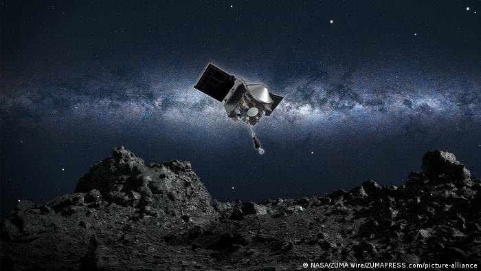 Космический аппарат OSIRIS-REx подлетает к астероиду (рисунок художника)