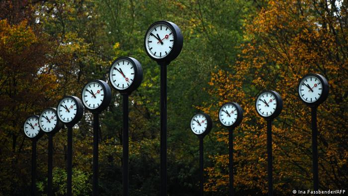 Art installation featuring clocks in Dusseldorf
