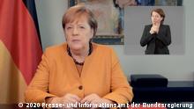 Video-Podcast zur Coronakrise von Angela Merkel (2020 Presse- und Informationsamt der Bundesregierung)
