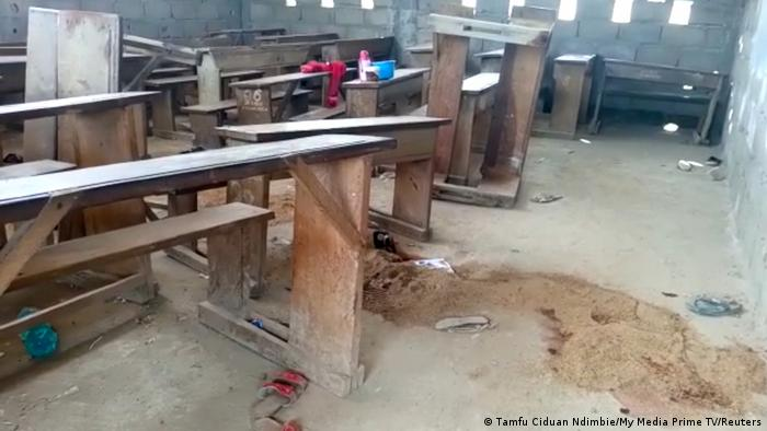 An empty classroom at a school in Kumba after a deadly attack (Tamfu Ciduan Ndimbie/My Media Prime TV/Reuters)