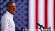 Barack Obama speak at a rally in Miami