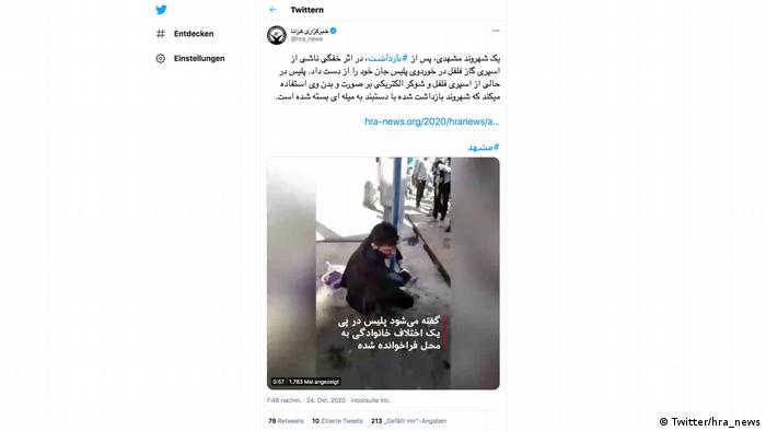 Screenshot Twitter | Mehrdad Sepehri von Polizei gefoltert