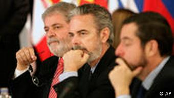 Brazil's President Luiz Inacio Lula da Silva with members of his delegation at the South American Union of Nations (UNASUR) summit in Los Cardales, Argentina in May, 2010.