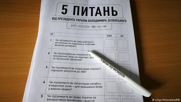 Бланк з питаннями від президента Зеленського