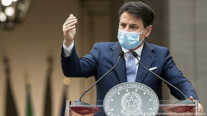 Italian Prime Minister Guiseppe Conte giving a speech in Rome in October 2020