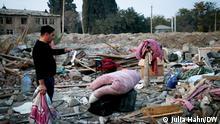 Ganja, Aserbaidschan, 19.10.2020+++Durch Raketenangriff zerstörtes Wohnhaus in Ganja, Aserbaidschan. Aserbaidschan macht Armenien für den Angriff verantwortlich. Copyright: Julia Hahn/DW