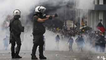 An Athens street on Wedesday during demonstrations