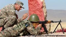 Armenian troops in firing range training near Yerevan