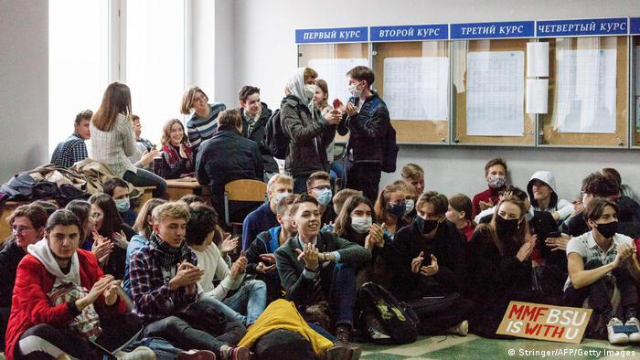 Belrus students at protest
