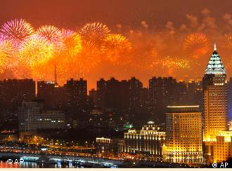 Fireworks light up the Shanghai skyline during the opening ceremony of the Shanghai Expo
