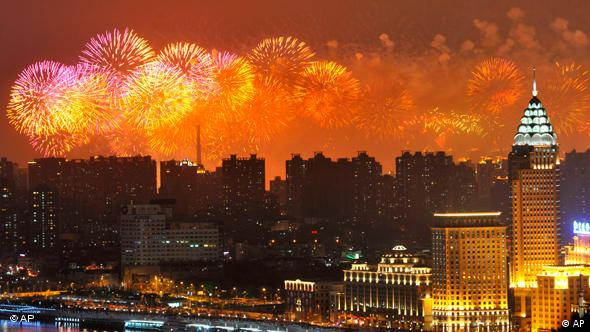 Fireworks light up the Shanghai skyline during the opening ceremony for the Shanghai 2010 World Exhibition, Friday April 30, 2010. (AP Photo/Philippe Wojazer,Pool)
