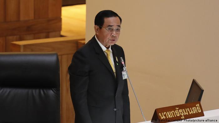 Thailand's Prime Minister Prayuth Chan-ocha delivers his opening speech for the special parliamentary session