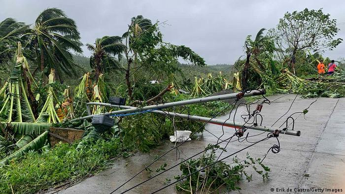 Downed power lines from Molave in the Philippines