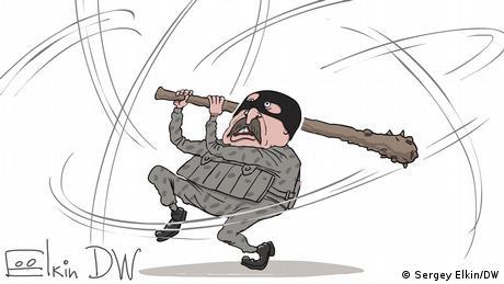 Карикатура - Александр Лукашенко в образе спецназовца, размахивающего дубинкой.
