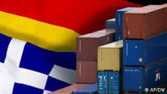 Montage of the German and Greek flags with shipping containers in front of them