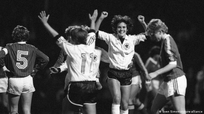 Germany's women celebrate a goal
