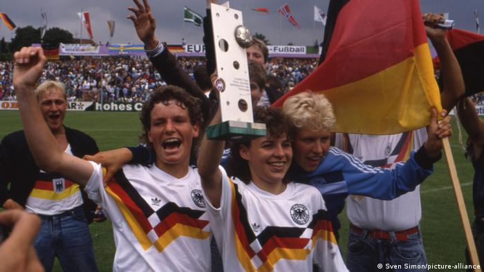 Germany's women celebrate winning the European Championships