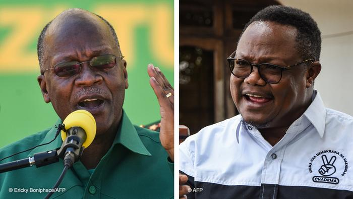 Split screen photo showing Tanzanian President John Magufuli and his challenger Tundu Lissu (both photos originally from AFP)
