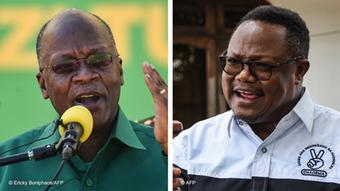 Le président John Magufuli (en vert) et son principal challenger Tundu Lissu (en blanc).
