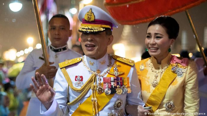 Thailand's King Maha Vajiralongkorn and Queen Suthida attend a ceremony in October 2020