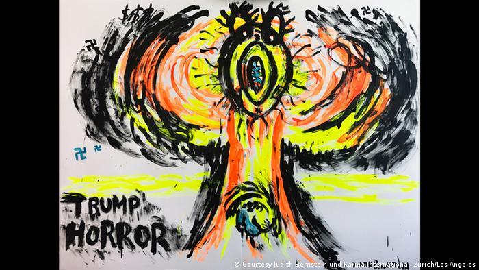 Kunstwerk von Judith Bernstein, mit Acryl auf Papier gemalt