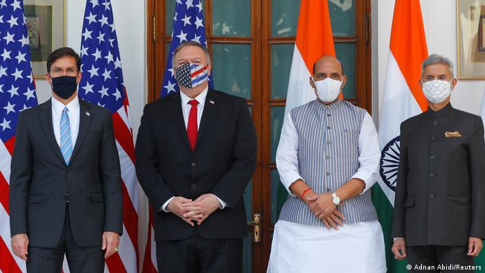 Esper and Pompeo in India with India's defense and foreign ministers