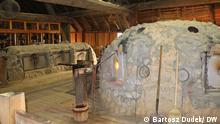 Die Nachbildung der Glashütte der Kolonie von Jamestown