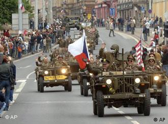 American military jeeps in a parade in Pilsen