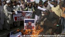 Pakistan Karatschi |Protest gegen Emmanuel Macron; Präsident Frankreich