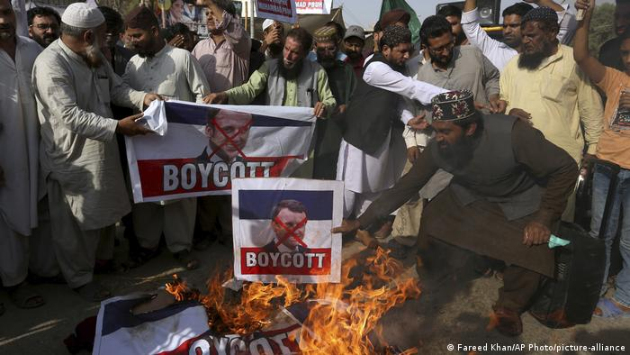 TLP supportes launched protests over the publication of caricatures of the Muslim Prophet Muhammad