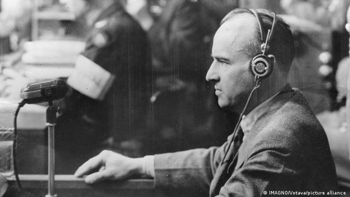 Hans Frank on the witness stand