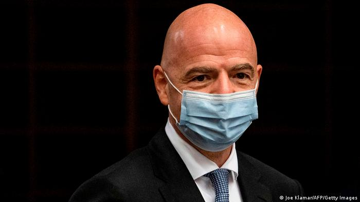 FIFA president Gianni Infantino wearing a mask
